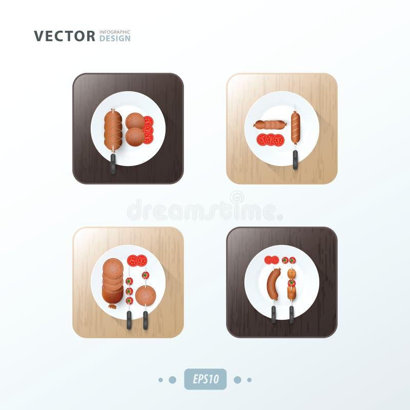 Le hot-dog de gril de BBQ, icônes conçoivent la nourriture illustration stock