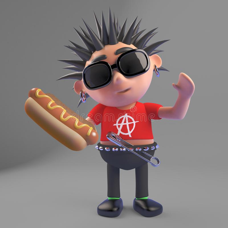 Le hot-dog indique le caractère méchant de rocker punk, l'illustration 3d illustration stock