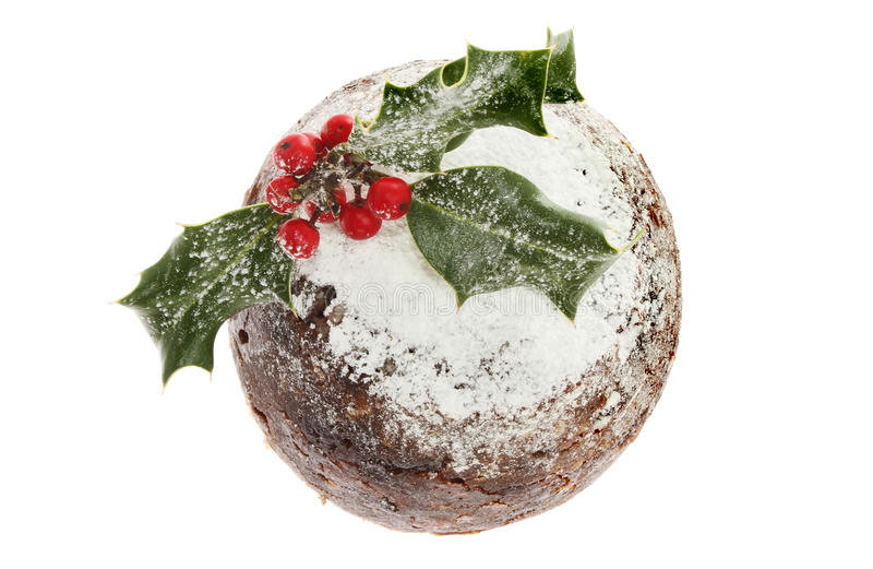 Le houx a décoré le pudding de Noël image libre de droits