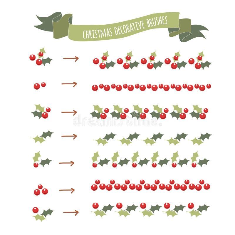 Le houx de bonne année esquissé par main laisse des brosses de modèle illustration stock