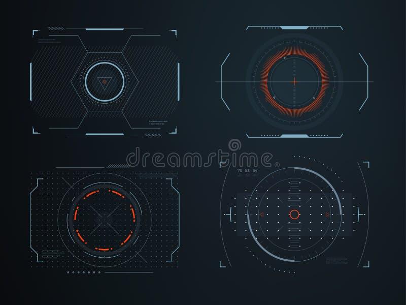 Le hud futuriste de casque examine la vue d'habitacle Technologie rougeoyante de véhicule de visualisation Contrôle d'interface i illustration de vecteur