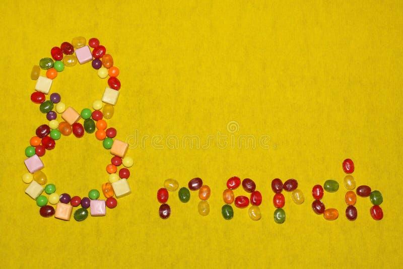 Le huitième mars de la sucrerie et des bonbons photo stock