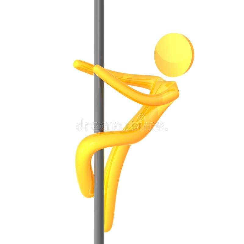 Le humanoid jaune élastique sur la bande taquinent le pôle illustration libre de droits