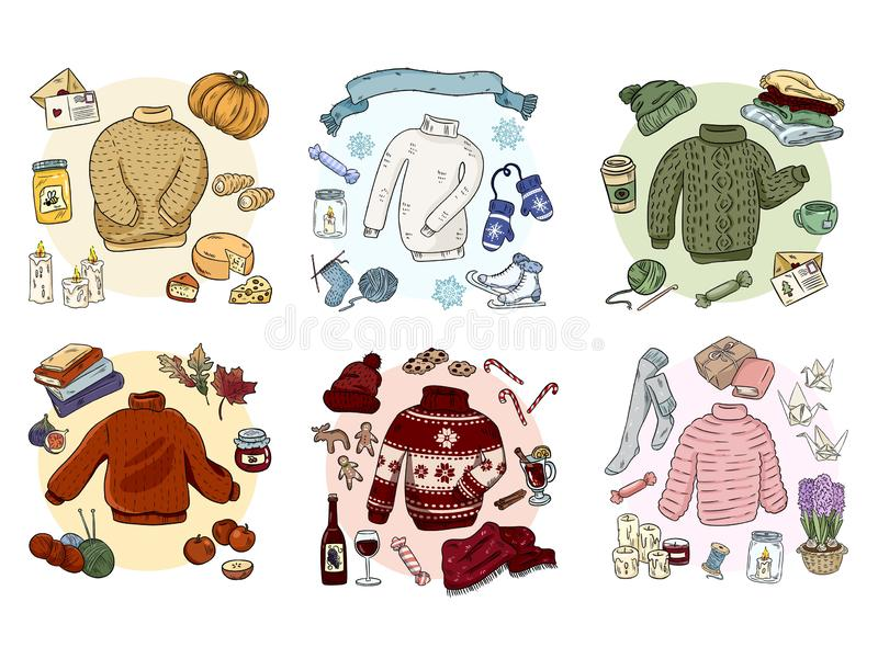 Le hygge confortable gribouille l'ensemble de collection Collants mignons illustration libre de droits