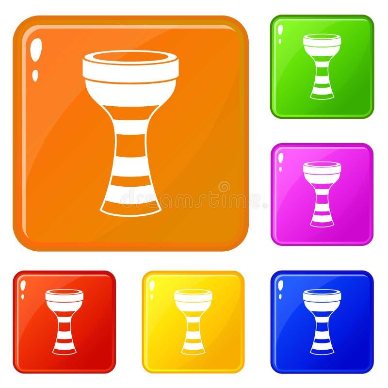Le icone africane del tamburo hanno fissato il colore di vettore illustrazione di stock