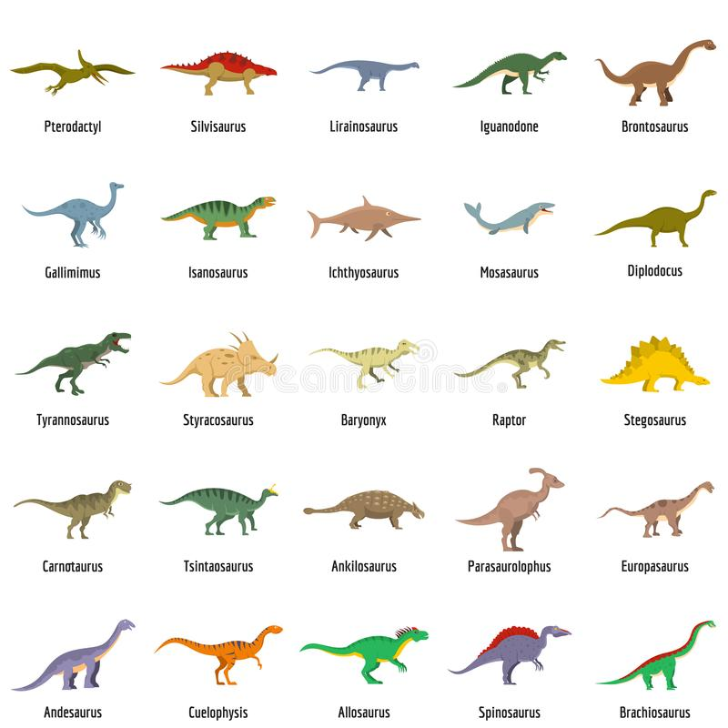 Le icone animali di vettore del dinosauro del carattere hanno messo, stile piano illustrazione di stock