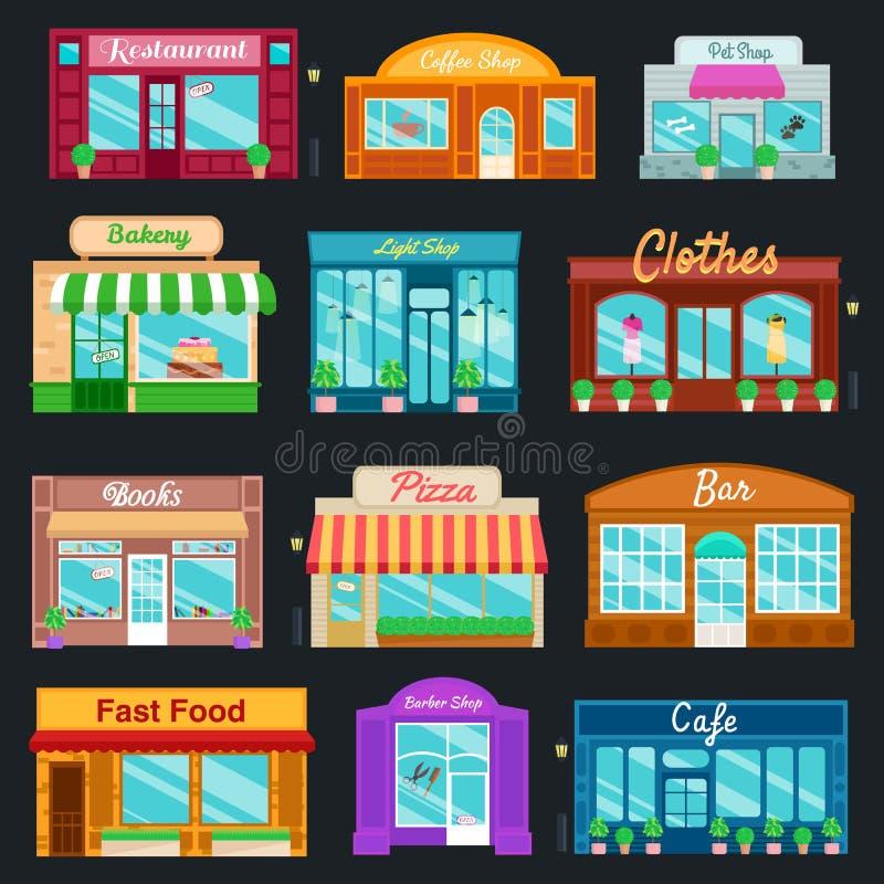 Le icone anteriori dei depositi e dei negozi hanno fissato lo stile piano Illustrazione di vettore illustrazione vettoriale