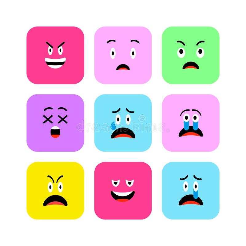 Le icone arrabbiate di Emojis hanno fissato lo stile piano Gli emoticon svegli hanno arrotondato il quadrato al giorno di sorriso illustrazione di stock