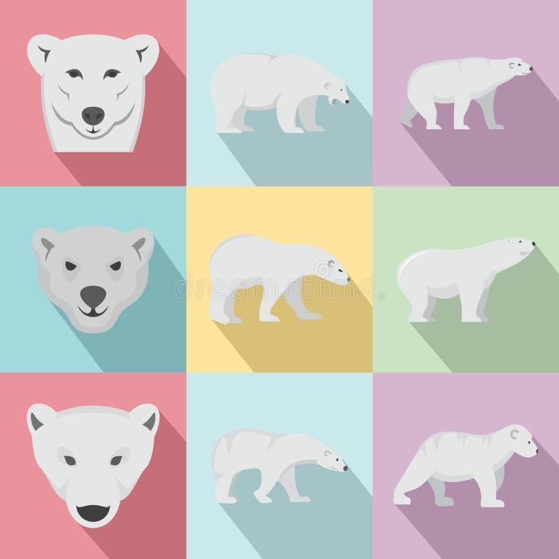 Le icone bianche del bambino dell'orso polare hanno messo, stile piano royalty illustrazione gratis