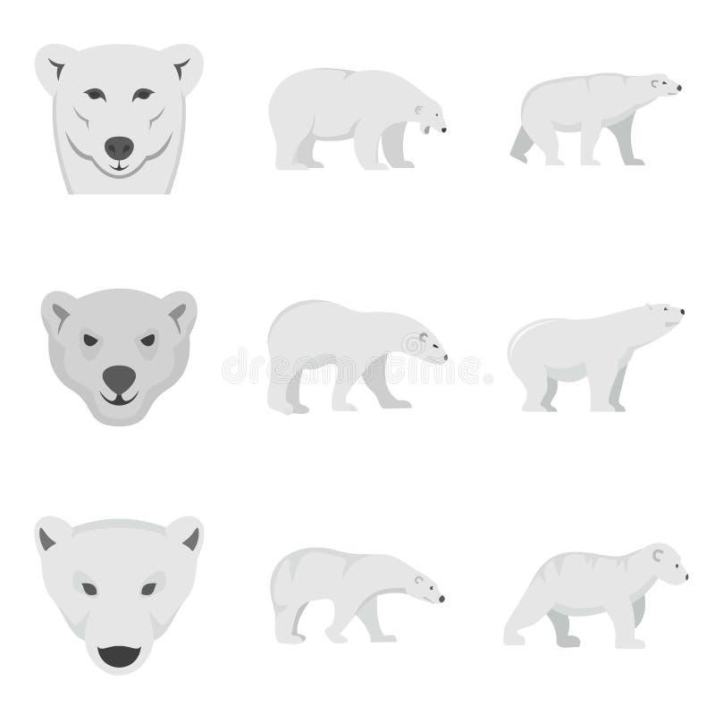 Le icone bianche del bambino dell'orso polare hanno messo, stile piano illustrazione di stock