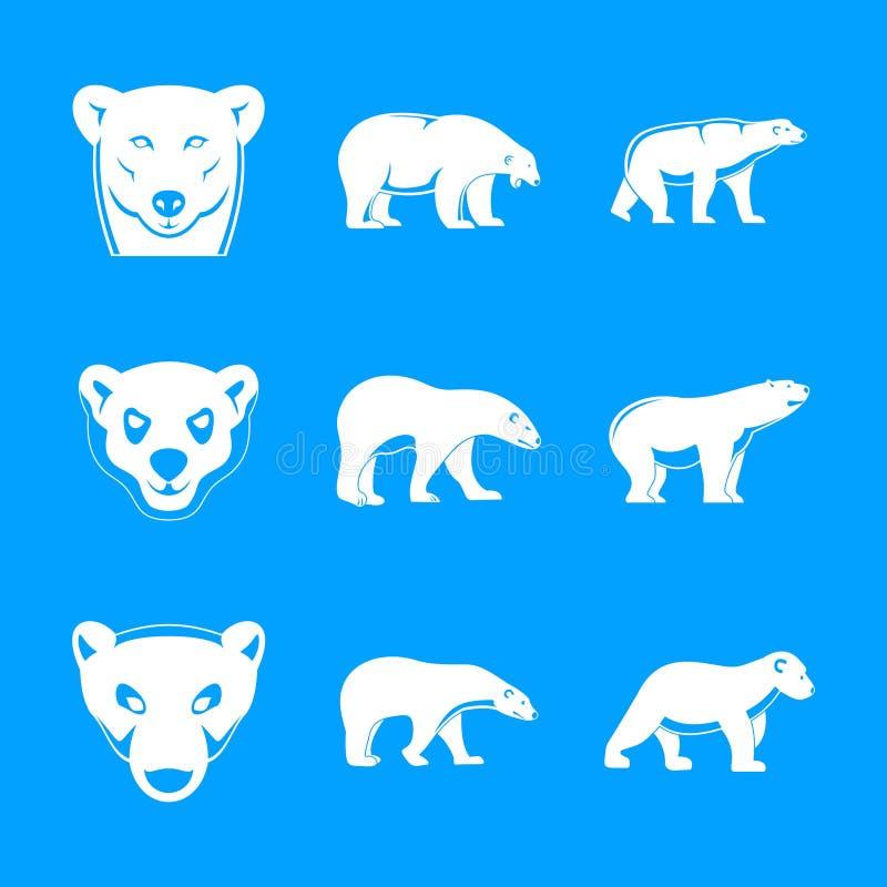 Le icone bianche del bambino dell'orso polare hanno messo, stile semplice illustrazione vettoriale
