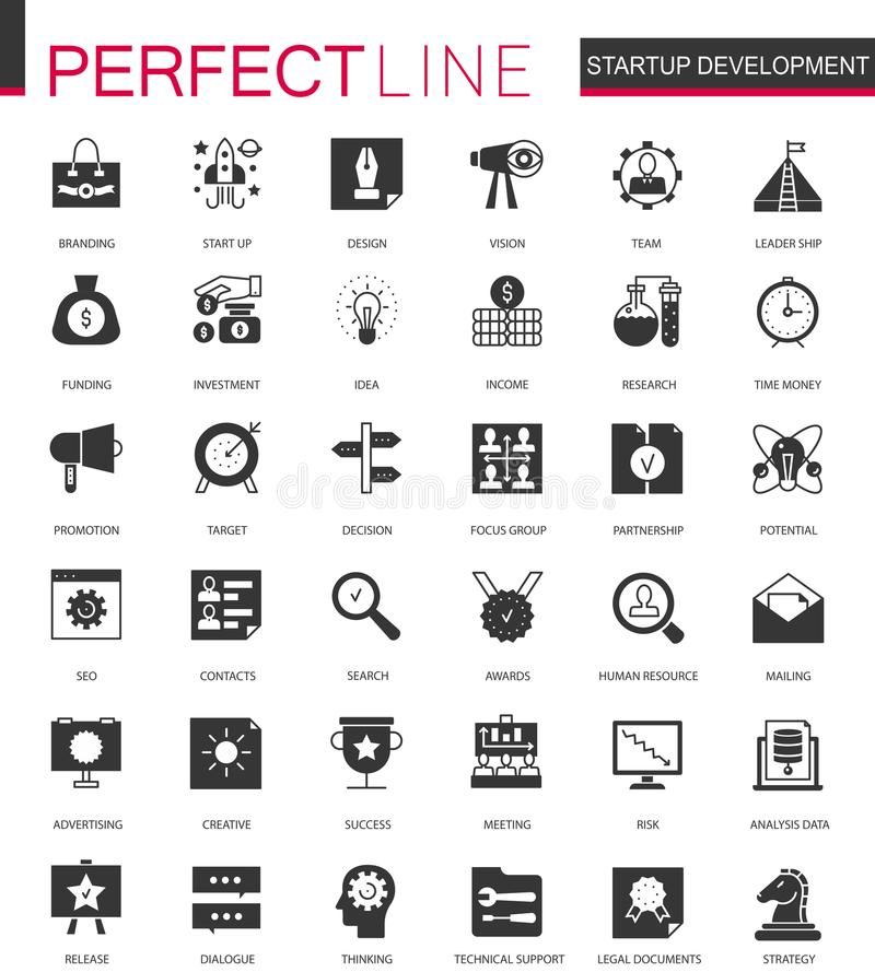 Le icone classiche nere dello sviluppo e della giovane impresa hanno messo per il web illustrazione vettoriale