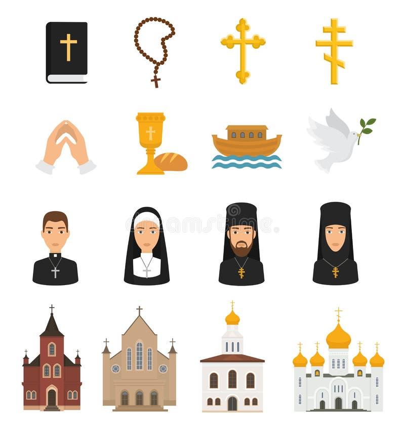 Le icone cristiane vector i segni di religione di Cristianità e pregare religioso delle mani dell'incrocio della bibbia di Cristo illustrazione vettoriale