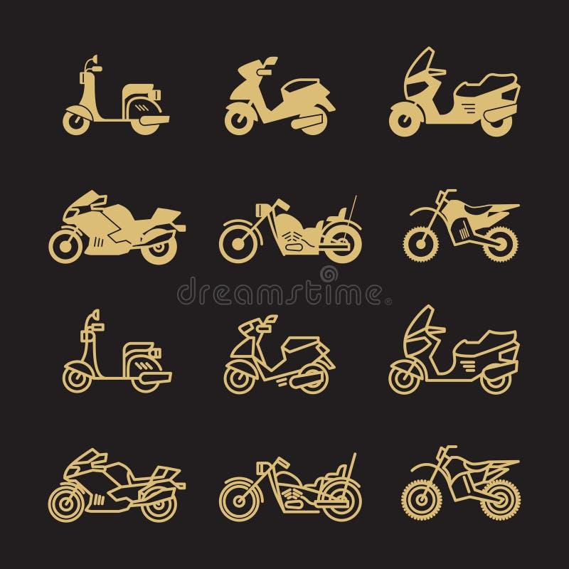 Le icone d'annata del motociclo e della motocicletta hanno messo isolato su fondo nero illustrazione vettoriale