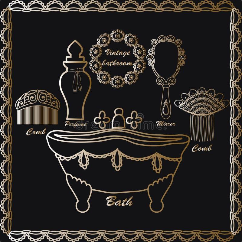 Le icone d'annata disegnate a mano del bagno hanno messo gli elementi d'annata del retro manifesto: vasca d'annata, pettini dei c illustrazione di stock