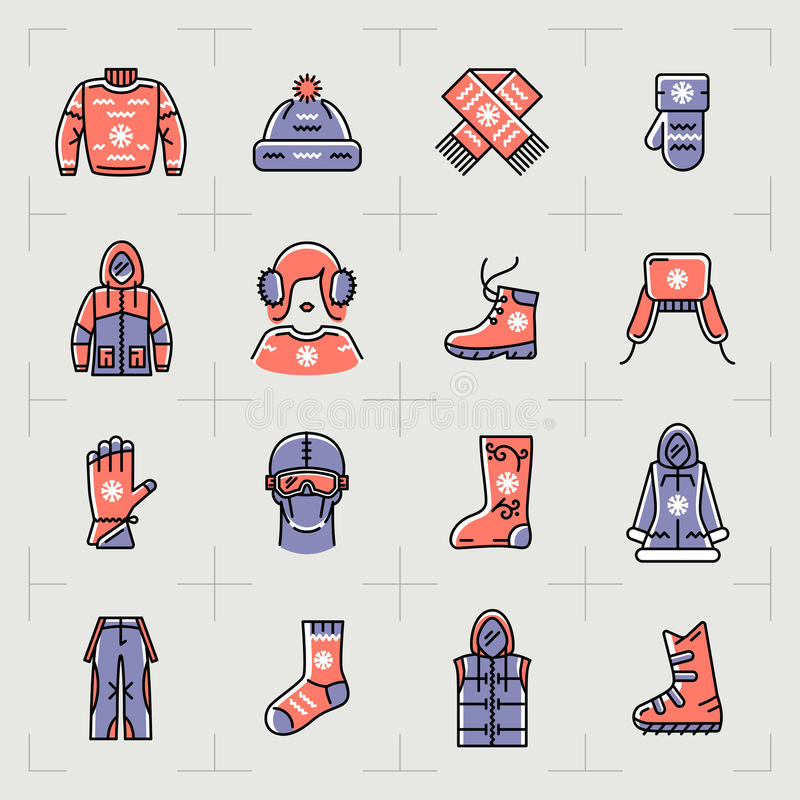 Le icone d'avanguardia del filo stendiabiti dell'inverno mettono, mettono in mostra, descrivono gli abiti sportivi illustrazione di stock