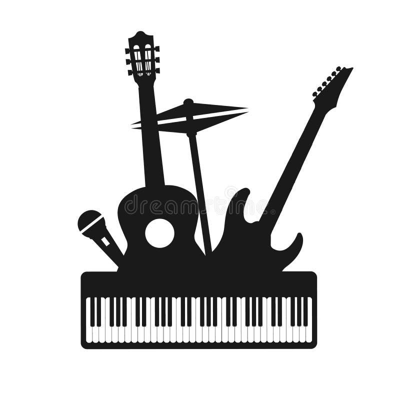 Le icone decorative degli strumenti musicali profilano l'insieme nero con l'illustrazione di vettore delle cuffie dei tamburi del illustrazione vettoriale
