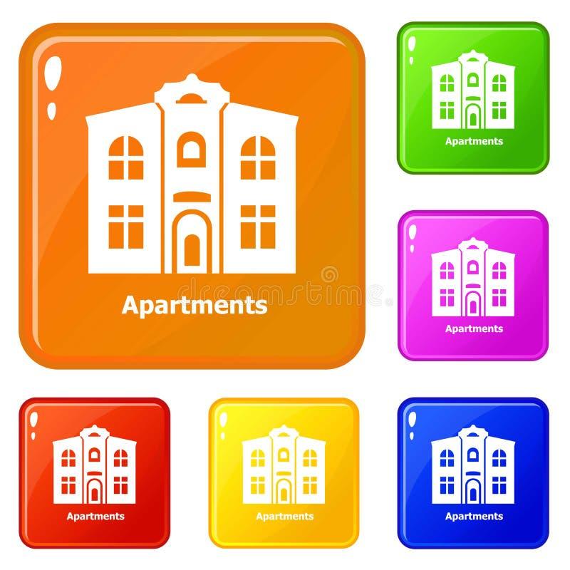 Le icone degli appartamenti hanno fissato il colore di vettore illustrazione vettoriale