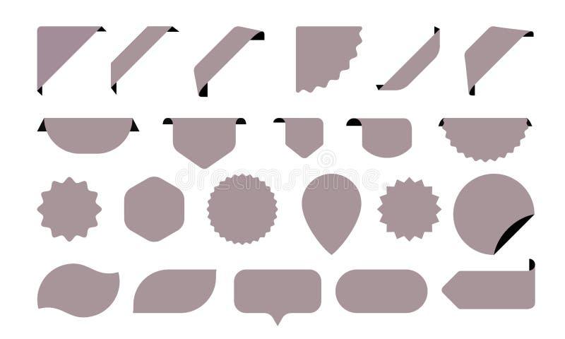 Le icone degli autoadesivi per le etichette del negozio, etichette e manifesti o insegne di vendita vector gli autoadesivi illustrazione vettoriale