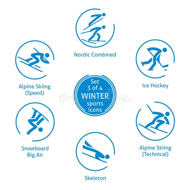 Le icone degli sport invernali hanno messo, 3 di 4, pittogrammi di vettore royalty illustrazione gratis