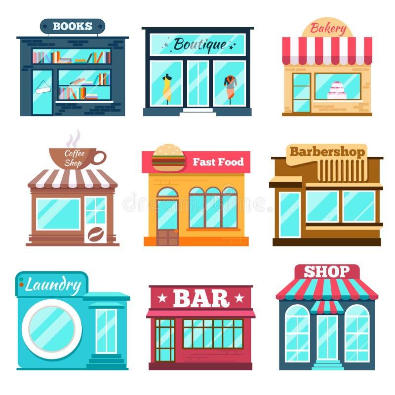 Le icone dei depositi e dei negozi hanno messo nello stile piano di progettazione royalty illustrazione gratis