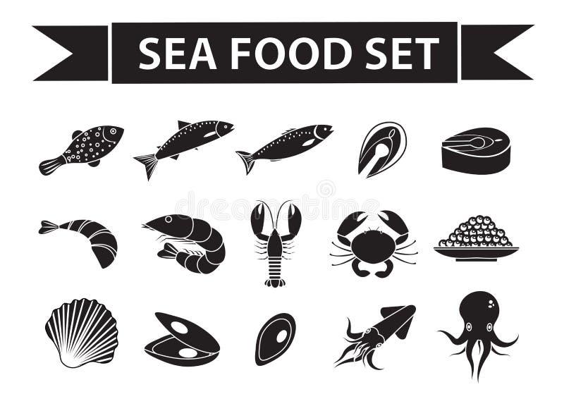 Le icone dei frutti di mare hanno fissato il vettore, la siluetta, stile dell'ombra Raccolta dei frutti di mare isolata su fondo  royalty illustrazione gratis