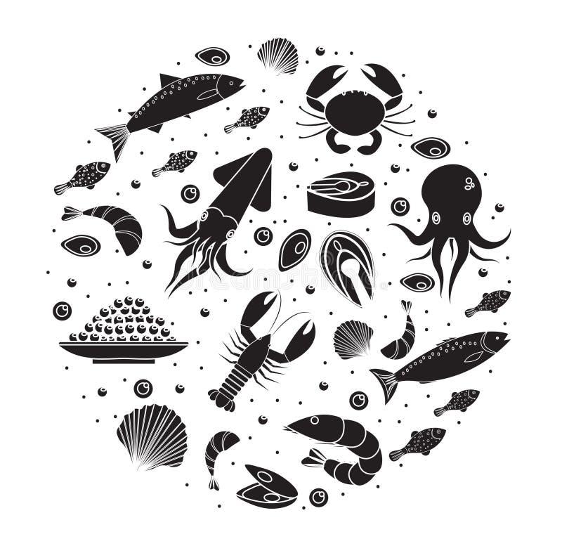 Le icone dei frutti di mare hanno messo nella forma rotonda, siluetta nera Raccolta dei frutti di mare isolata su fondo bianco Pr illustrazione vettoriale