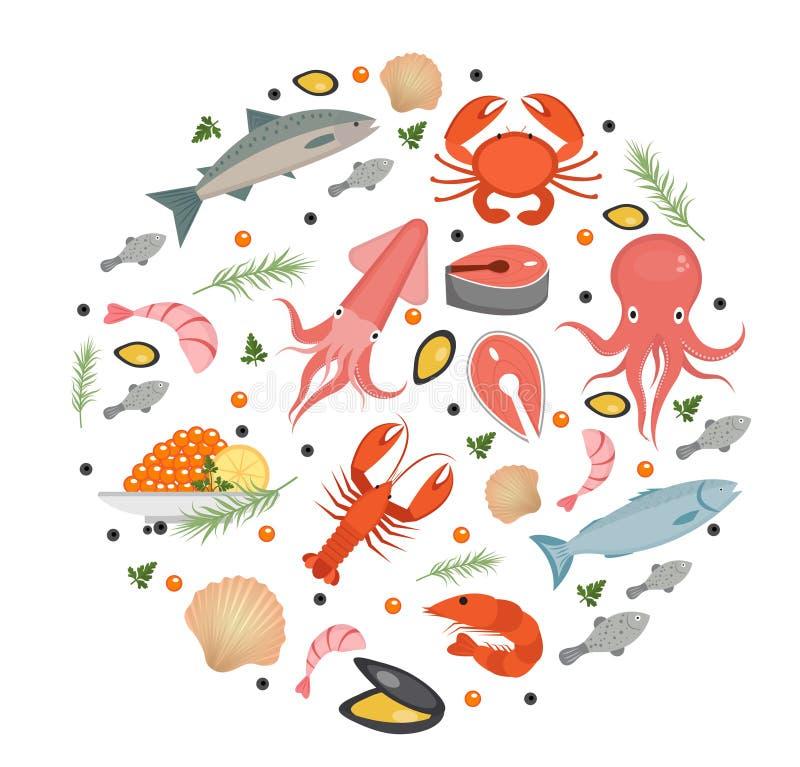 Le icone dei frutti di mare hanno messo nella forma rotonda, stile piano Raccolta dei frutti di mare isolata illustrazione di stock