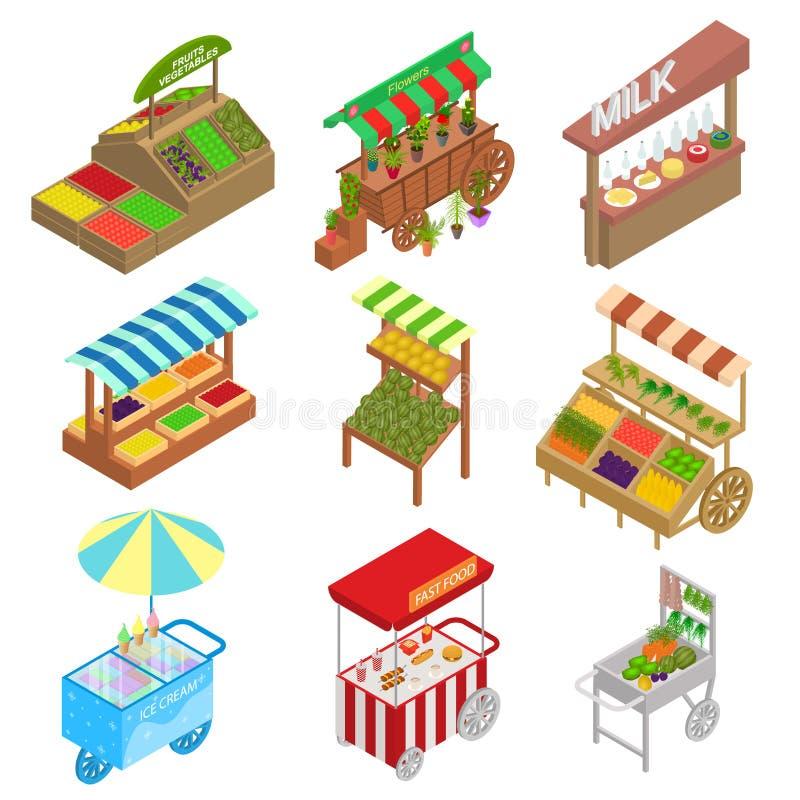 Le icone dei segnali stradali 3d dell'alimento del venditore hanno fissato la vista isometrica Vettore illustrazione di stock
