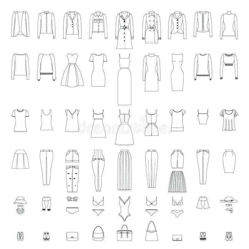 Le icone dei vestiti delle donne hanno messo nella linea stile di arte isolato su bianco royalty illustrazione gratis