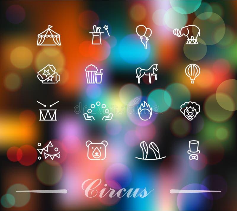 Le icone del circo hanno messo nello stile lineare sui precedenti variopinti illustrazione di stock