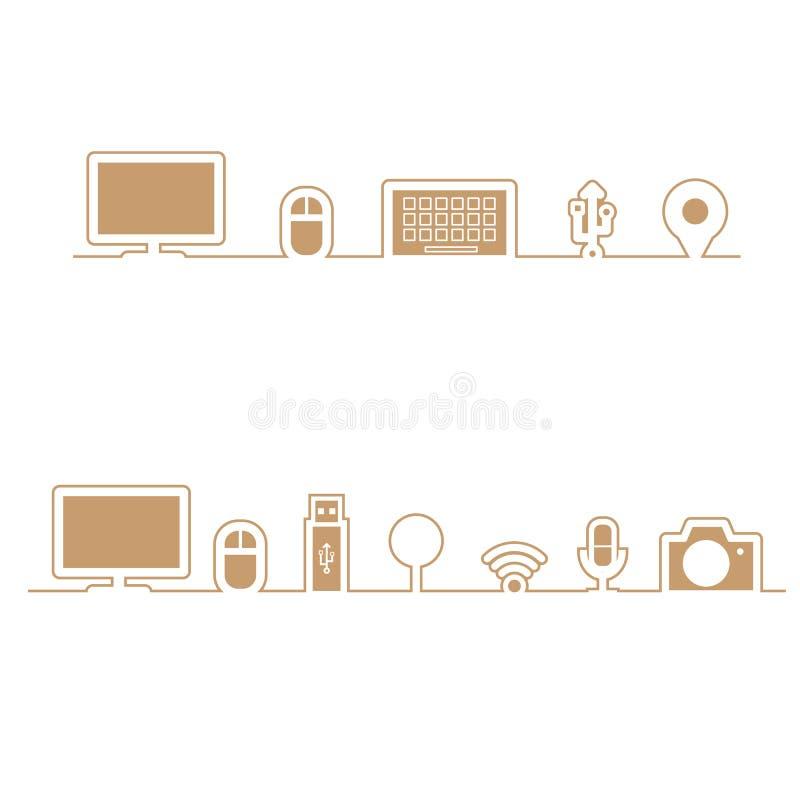 Le icone del computer allineano nella linea illustrazione di stock