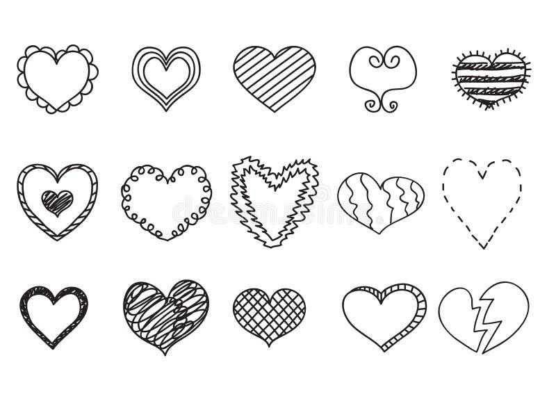 Le icone del cuore di scarabocchio hanno messo, illustrazioni disegnate a mano di vetor illustrazione vettoriale