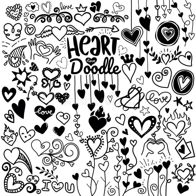 Le icone del cuore hanno messo, icone ed illustrazioni disegnate a mano per i biglietti di S. Valentino illustrazione vettoriale