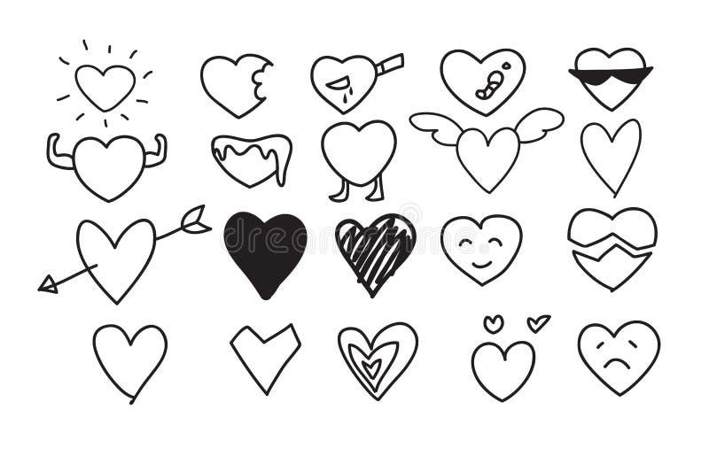 Le icone del cuore hanno messo la linea disegnata a mano illustrazioni sveglie di vettore di arte royalty illustrazione gratis