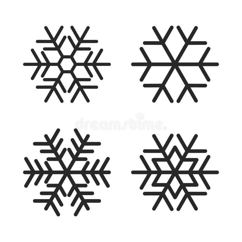 Le icone del fiocco di neve d'avanguardia semplice isolate su fondo bianco Elementi di inverno per l'insegna di Natale, del nuovo illustrazione vettoriale