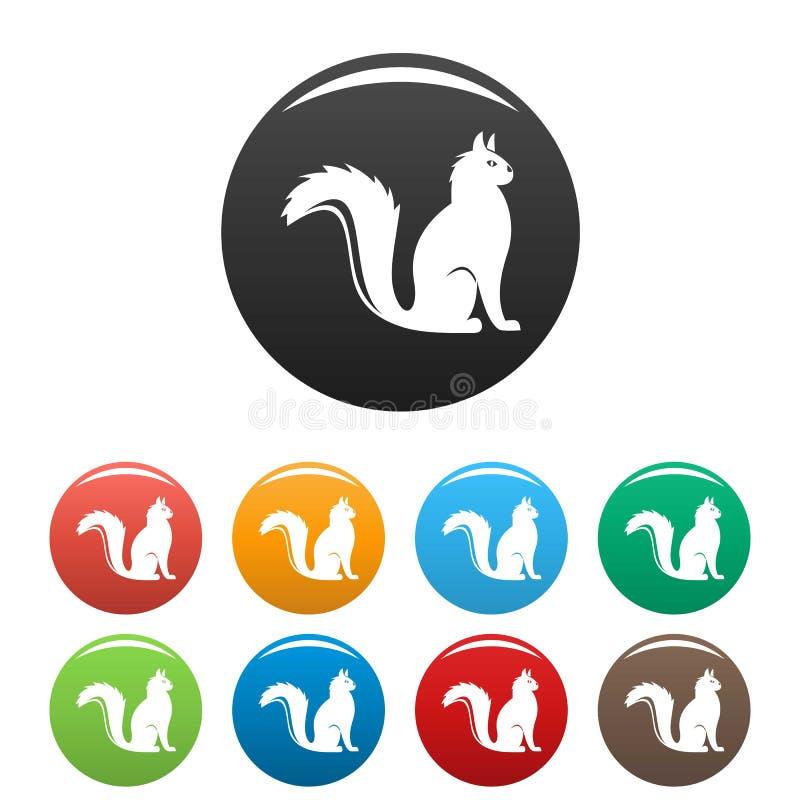 Le icone del gatto hanno fissato il colore illustrazione vettoriale