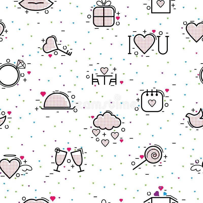 Le icone del giorno di biglietti di S. Valentino vector il cuore nell'amore ed il segno rosso adorabile sulla cartolina d'auguri  royalty illustrazione gratis