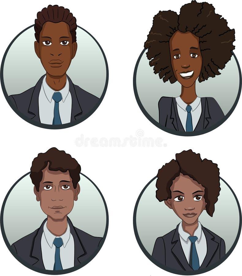 Le icone del gruppo di affari del cerchio hanno messo nello stile piano royalty illustrazione gratis