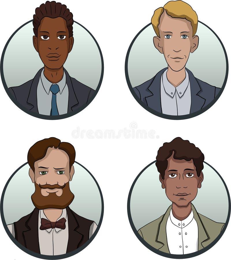 Le icone del gruppo di affari del cerchio hanno messo nello stile piano illustrazione di stock