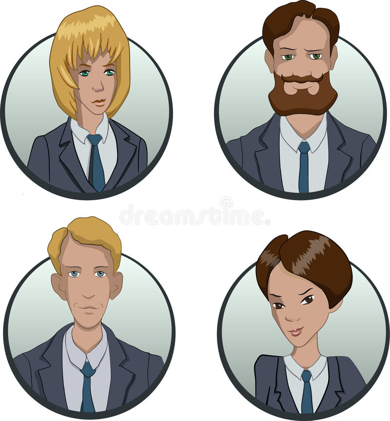 Le icone del gruppo di affari del cerchio hanno messo nello stile piano illustrazione vettoriale