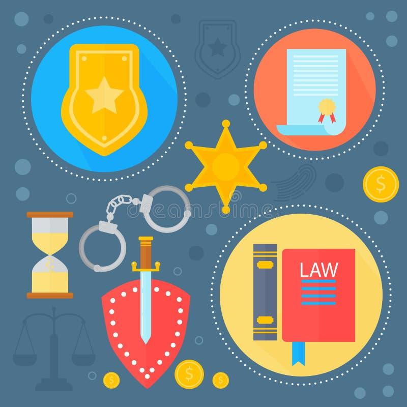 Le icone del modello di infographics delle icone di concetto di progetto della giustizia e di legge giustamente nei cerchi proget royalty illustrazione gratis