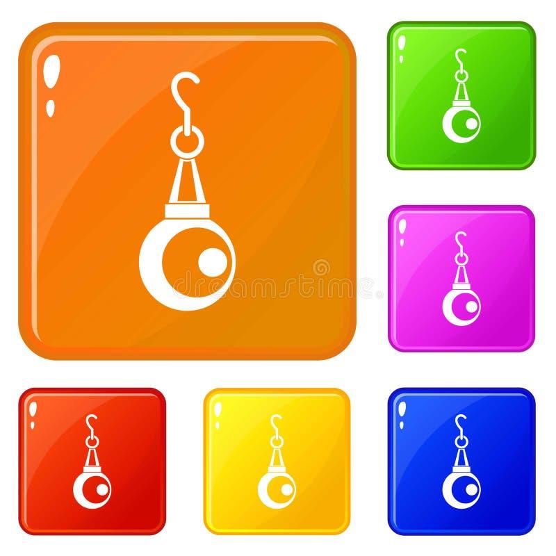 Le icone del pendente della perla di bellezza hanno fissato il colore di vettore illustrazione di stock