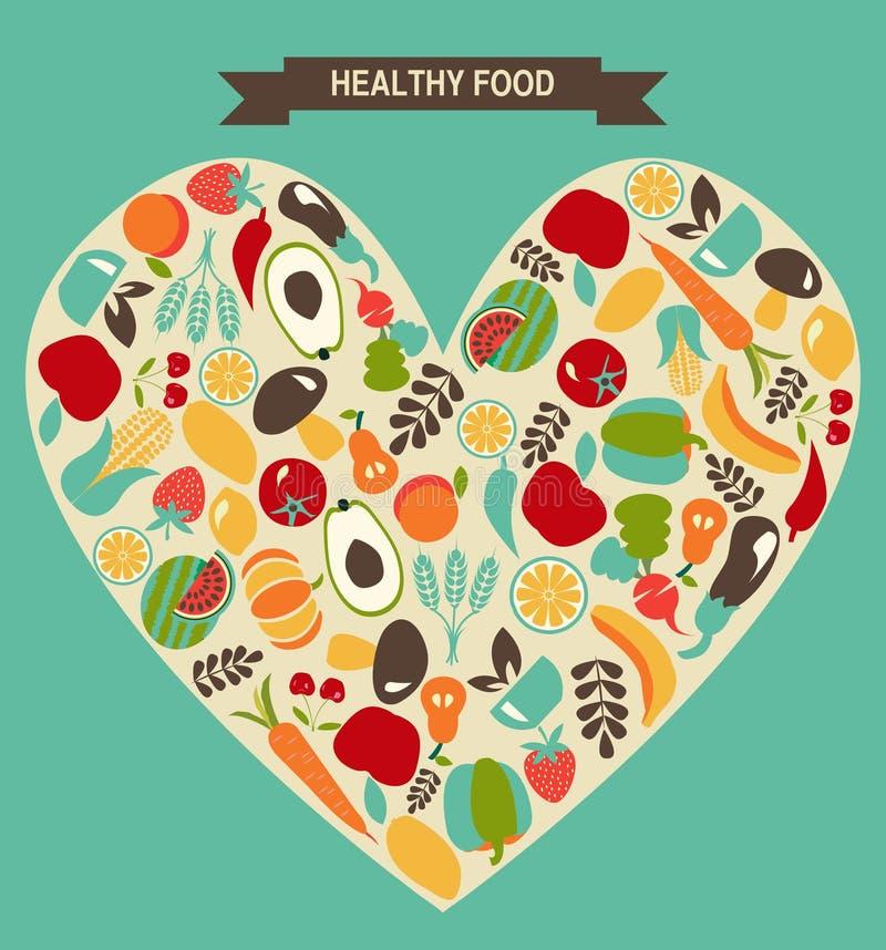 Le icone dell'alimento di Eco hanno messo, verdure e frutta - illustrazione royalty illustrazione gratis
