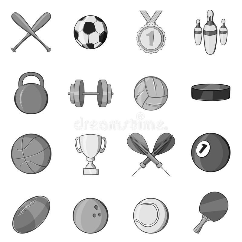 Le icone dell'attrezzatura di sport fissano, anneriscono lo stile monocromatico illustrazione di stock