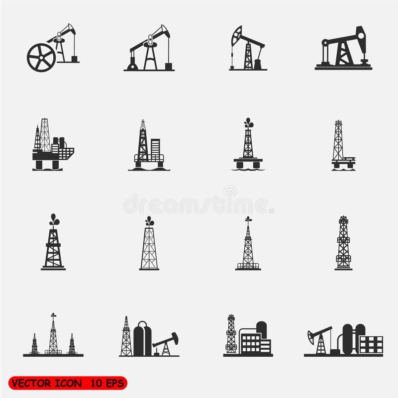 Le icone dell'impianto offshore, della pompa e della piattaforma della trivellazione petrolifera mette illustrazione vettoriale