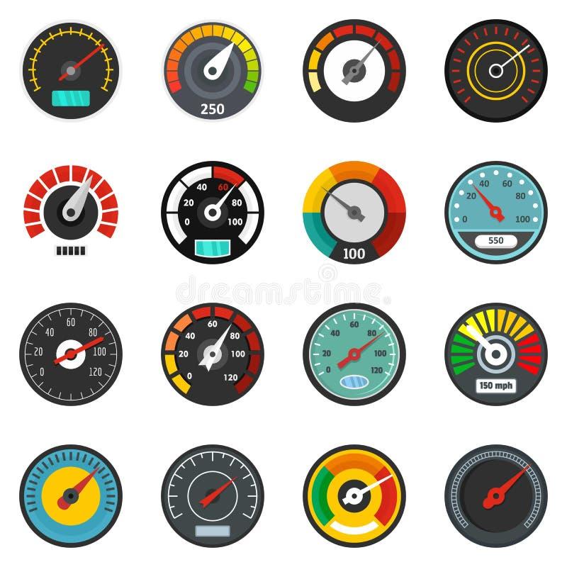 Le icone dell'indicatore di livello del tachimetro hanno messo, stile piano illustrazione di stock