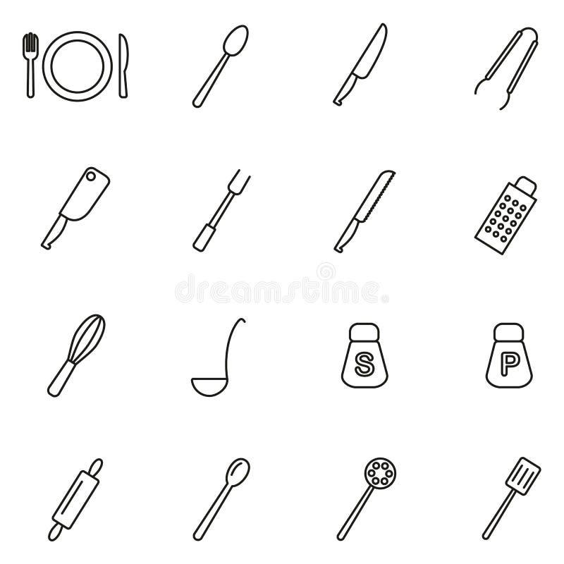 Le icone dell'insieme o della coltelleria di cena assottigliano la linea insieme dell'illustrazione di vettore illustrazione di stock