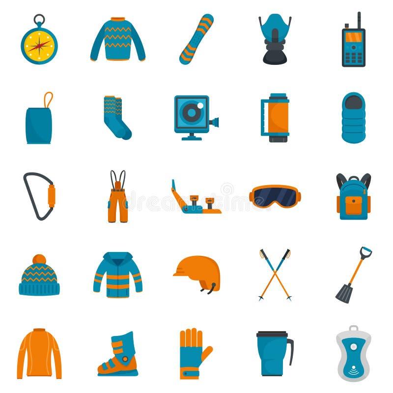 Le icone dell'inverno dell'attrezzatura dello snowboard hanno messo, stile piano illustrazione di stock