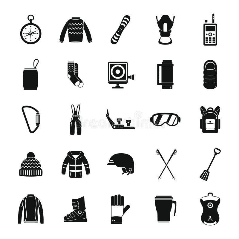 Le icone dell'inverno dell'attrezzatura dello snowboard hanno messo, stile semplice illustrazione vettoriale